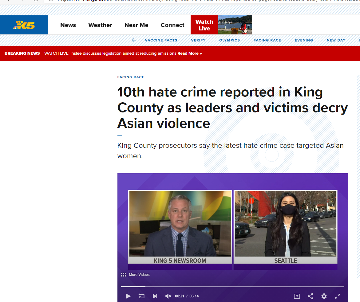 10th hate crime reported in King County as leaders and victims decry Asian violence
